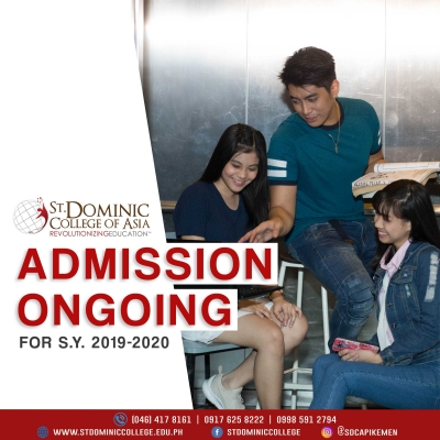 Admission Ongoing for  School Year 2019-2020