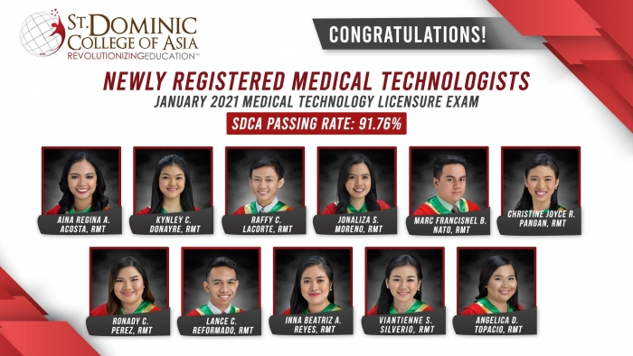 SDCA MAINTAINS HIGH BOARD EXAM RATE FOR MEDICAL TECHNOLOGY