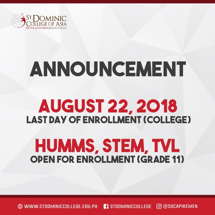 ADMISSION ANNOUNCEMENT