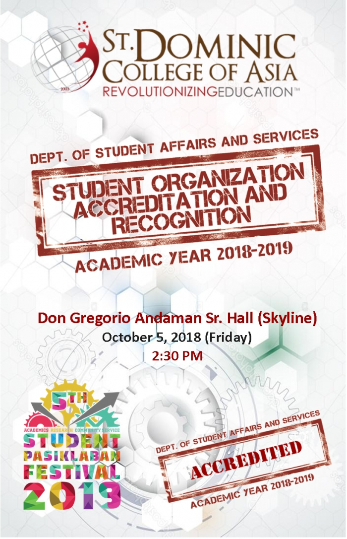 STUDENT ORGANIZATION ACCREDITATION & RECOGNITION FOR AY. 2018-2019
